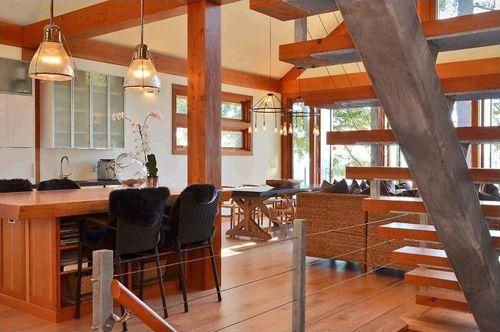vista escaleras flotantes casa madera