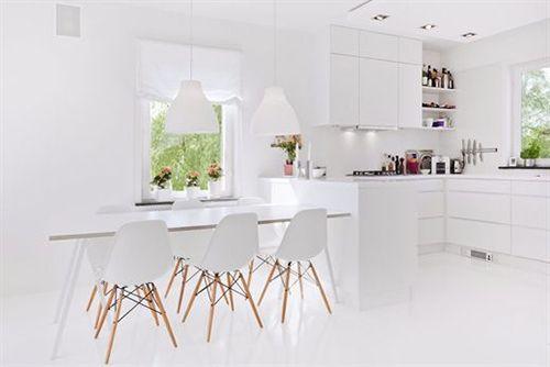 Comedor y cocina de diseño escandinavo.
