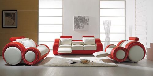 sofas italianos t 27  contemporary white and red leather sofa set