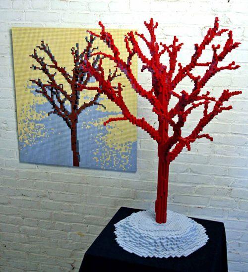 trees and shadow escultura lego nathan sawaya brickartist.com