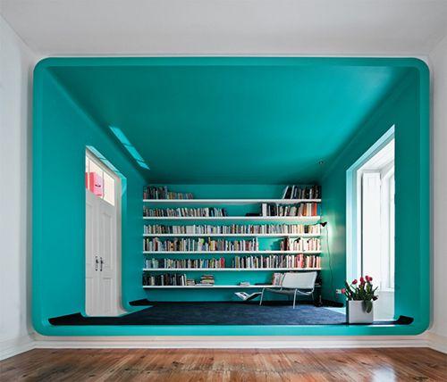 biblioteca contemporanea turquesa