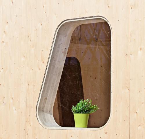 ventana irregular casa modular madera
