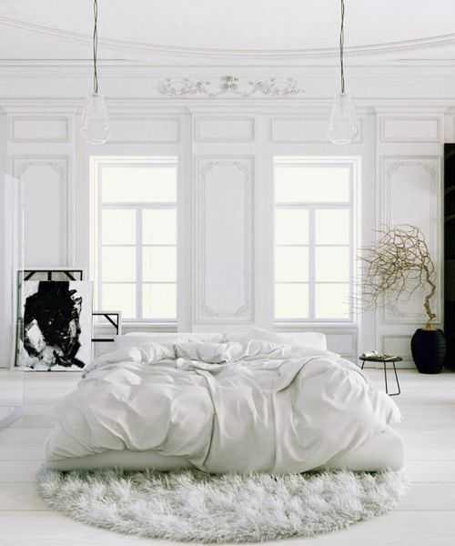 Parisian-Apartment-soft-white-bedroom-with-black-accents-and-potted-tree2-600x720