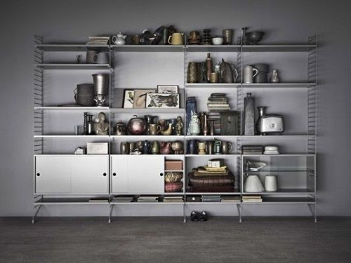 string® system - floor panels, shelves and cabinets in grey