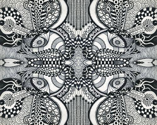 zentangle patrones dibujo blanco y negro meditacion