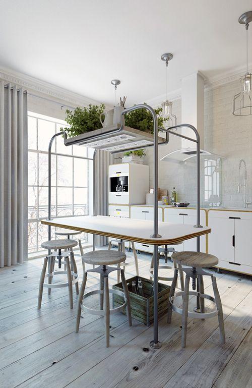 cocina apartamento estilo industrial anton medvedev praga
