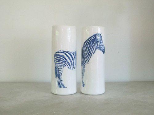 pareja jarrones cebra ceramica favorito studio