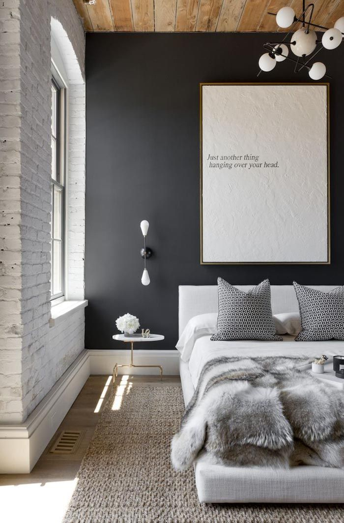 dormitorio pared negra nordico