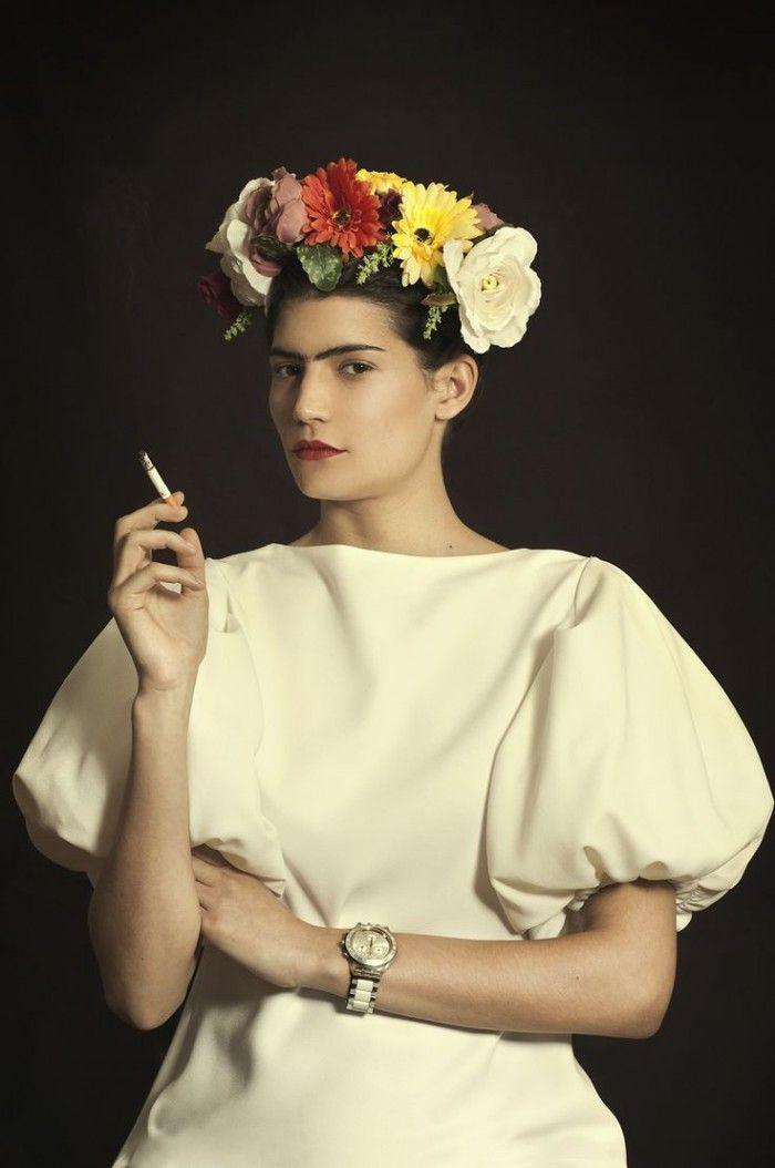 fotografia frida kahlo corona flores fotografa argentina romina ressia foto que parece un cuadro pictorica
