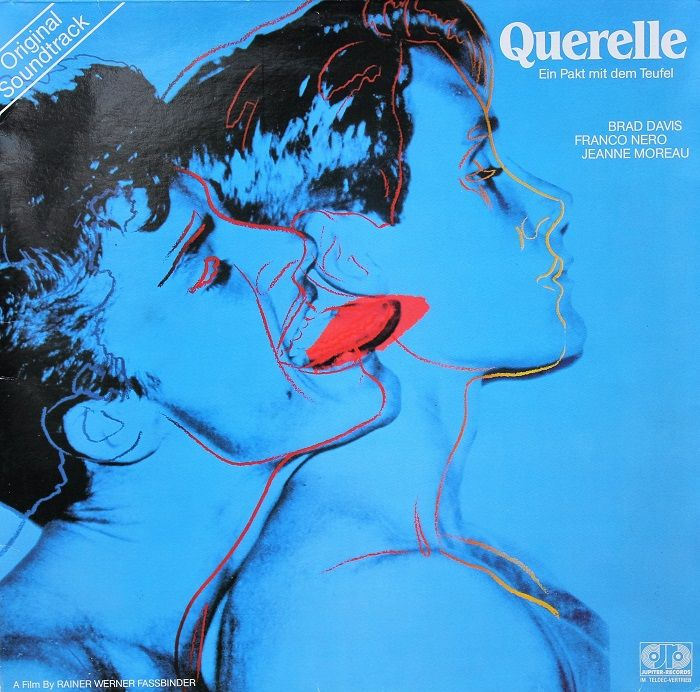 portada disco vinilo querelle andy warhol color azul lenguas rojas