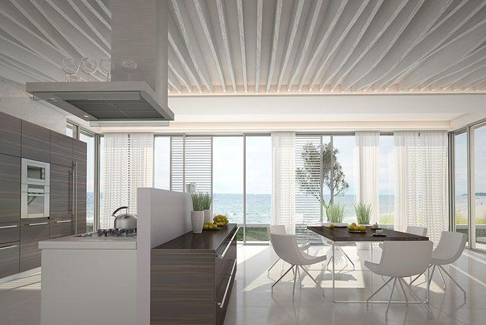 cocina con vistas al mar en casa de verano