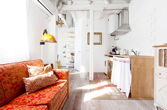 salon cocina piso malasaña restaurado