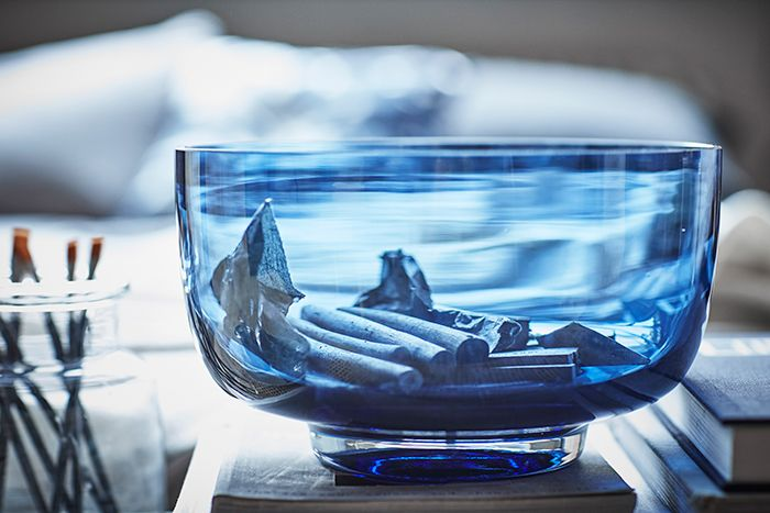 cuenco vidrio azul ikea stockholm