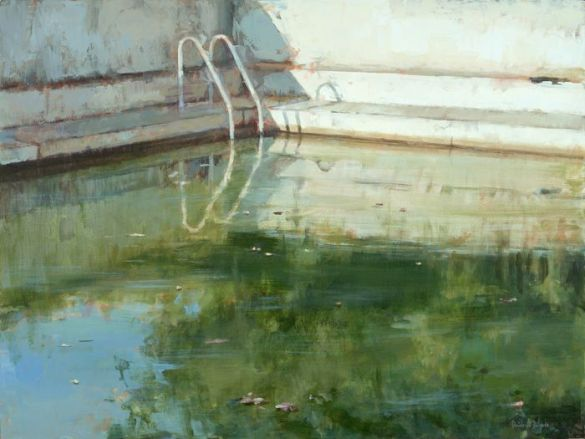 piscina en otoño pintura