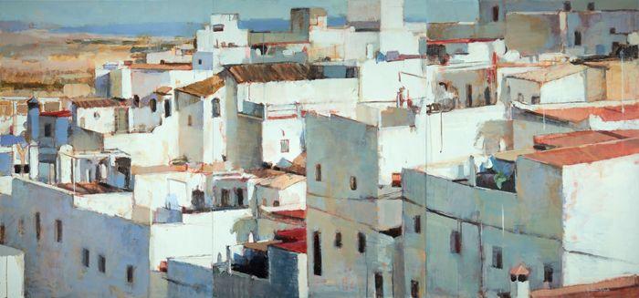 pintura pueblo blanco españa