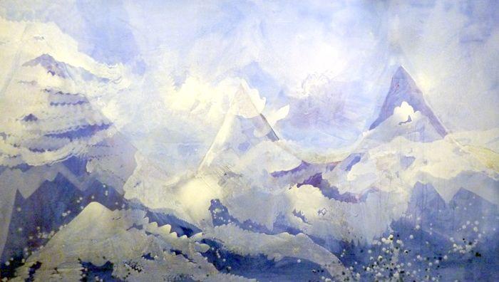 paisaje montañoso azules pintura