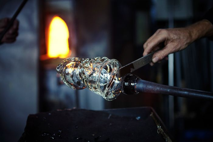 trabajo vidrio horno