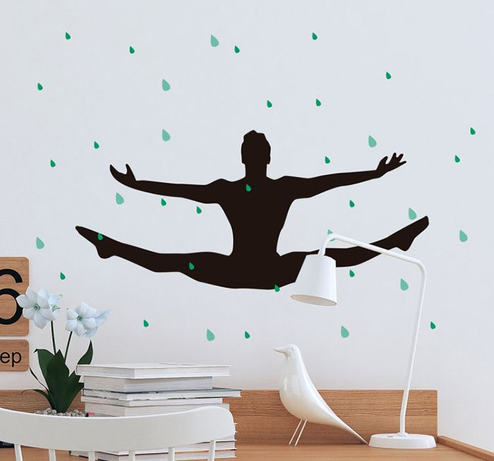 decoracion pared gimnasta masculino negra