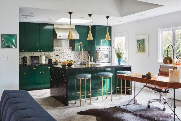 cocina en verde diseño de interiores