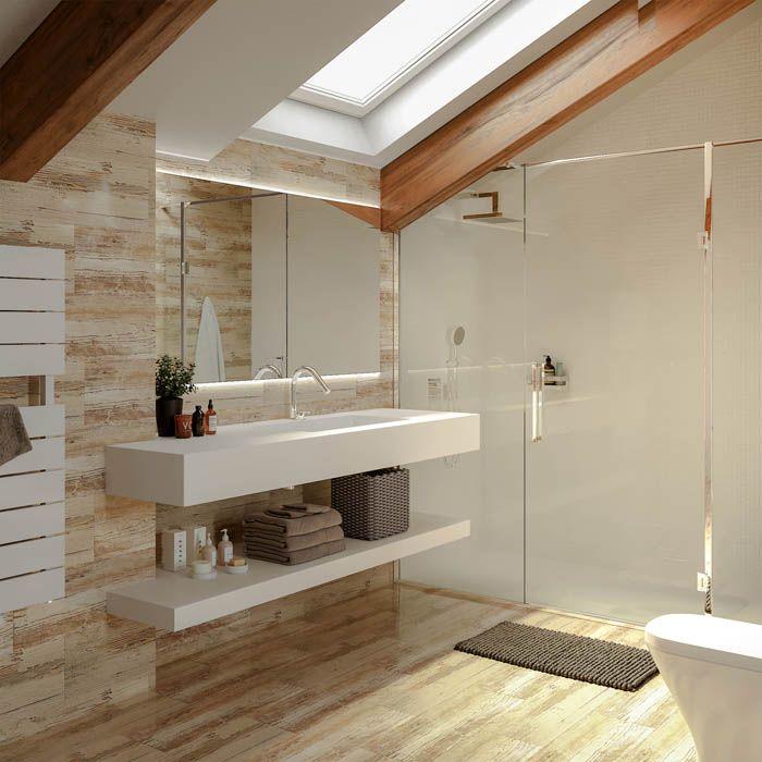 baño con claraboya velux moderno