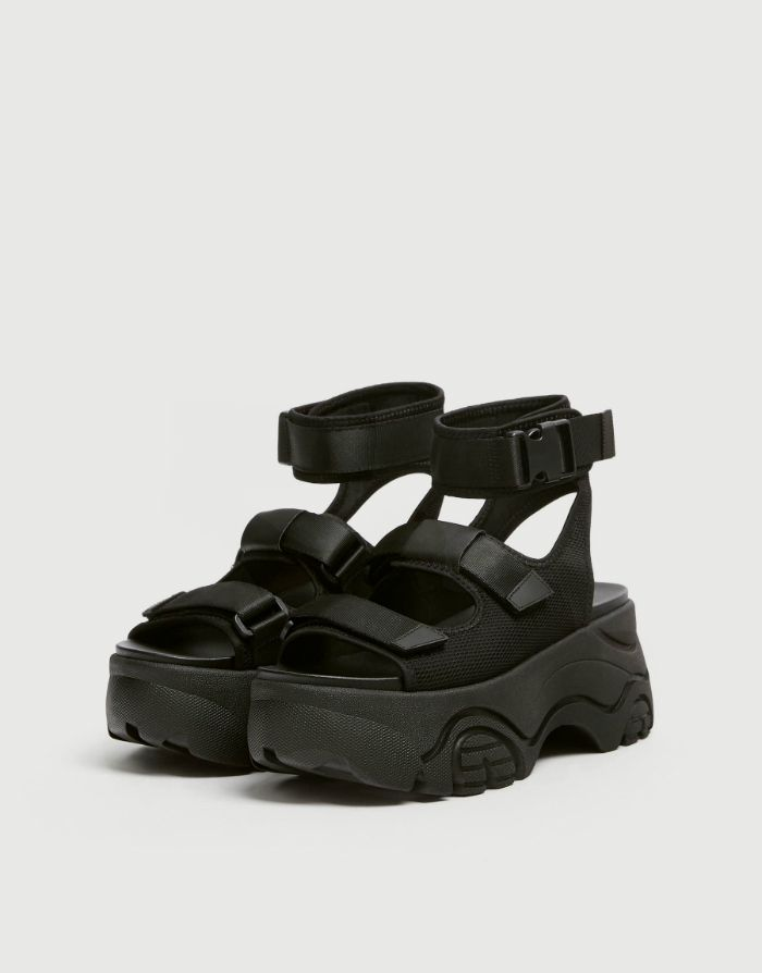 sandalia rosalia plataforma negra