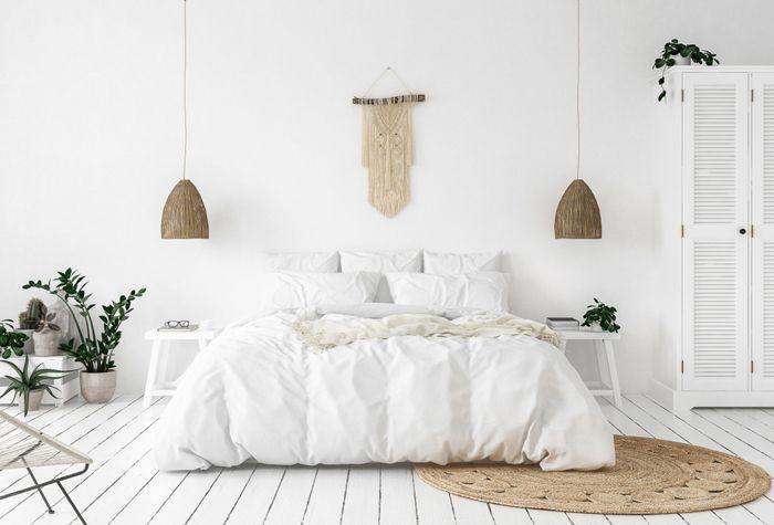 habitacion doble blanca con macrame