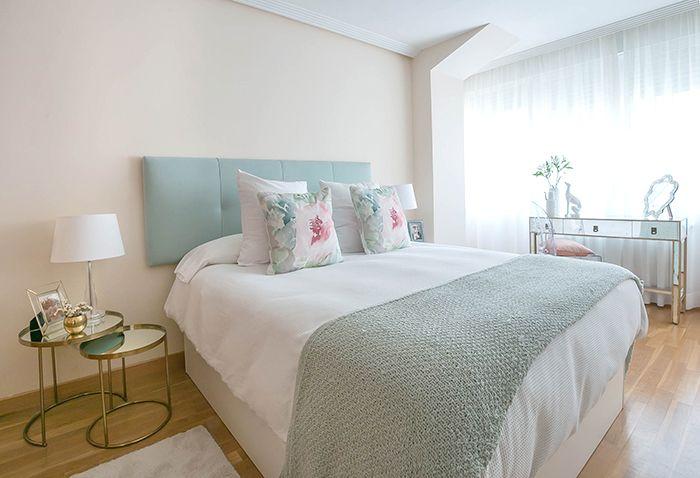 cama doble cabecero turquesa