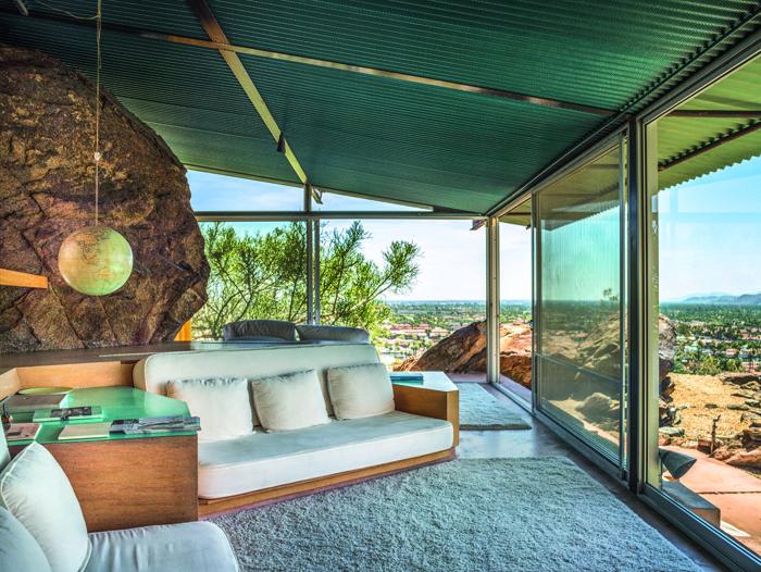terraza porche cubierto madera vista mar