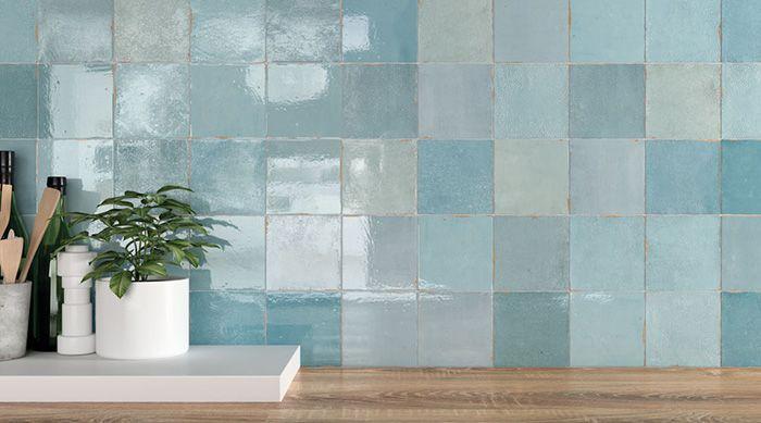 azulejos artesanos azules cuadrados