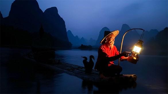pescador vietnam noche