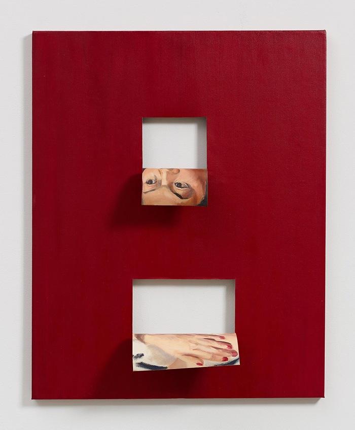 cuadro rojo con recortes cuadrados caras