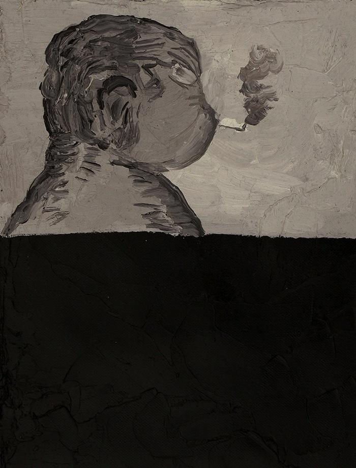 pintura hombre gordo fumando