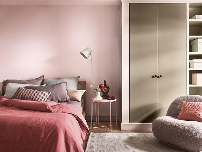 dormitorio combinacion tonos rosas