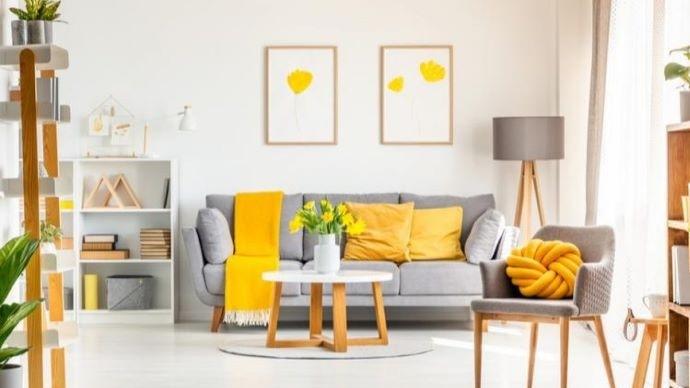 Colores gris y amarillo-Pantone-2021-en-decoracion-de-la-casa