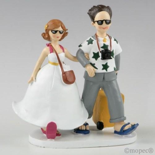 Figura para tarta de bodas de novios viajeros
