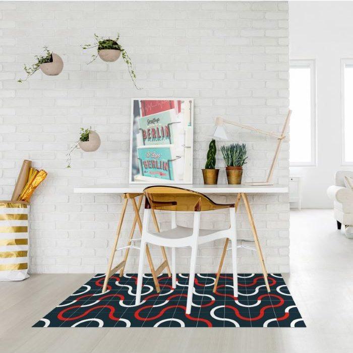 alfombra-de-vinilo-moderna-roja-negra-y-blanca-moderna en Venca