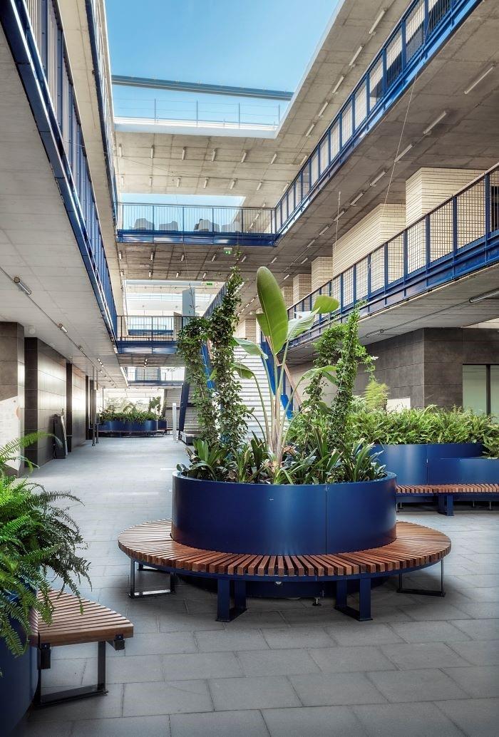 Interior-del-Campus-Loyola decorado con plantas