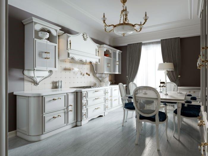 Cocina con mesa de comedor estilo provenzal con tonos claros
