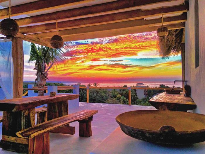vistas atardecer en casa Alegria alojamiento Airbnb México