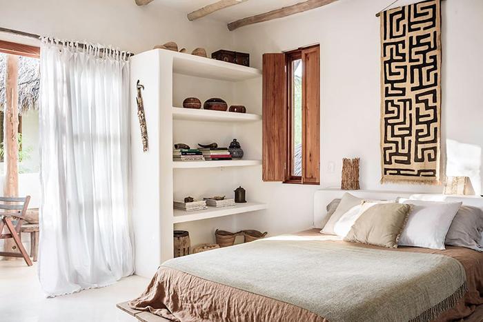Habitación de matrimonio de diseño bohemio en Casa Impala Holbox, alojamiento de Airbnb en México