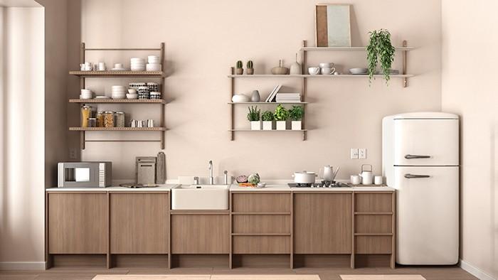 estante sflotantes decorativos y de almacenamiento en cocina
