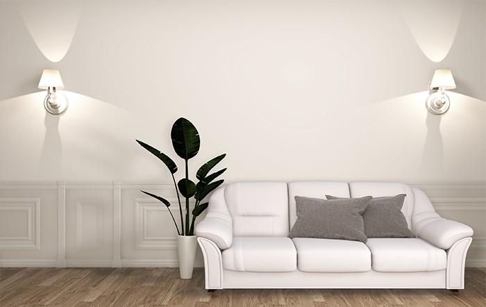 salón con iluminación artificial pared