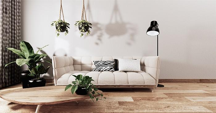 salón con decoración plantas