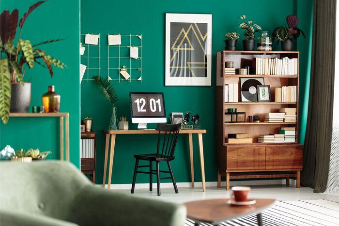 escritorio paredes verdes