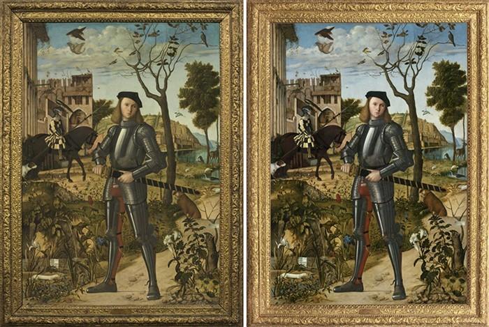 restauración Imagen general con marco, antes y después de la restauración