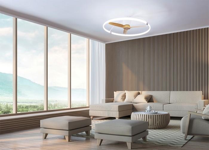 salon diseño ventilador minimalista