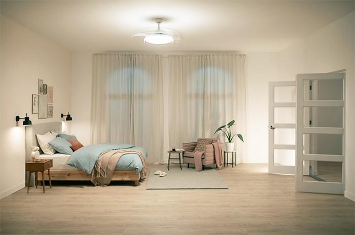dormitorio ventilador minimalista iluminacion