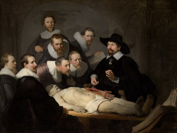 Obra pictórica Lección de anatomía del Dr. Nicolaes Tulp de Rembrandt