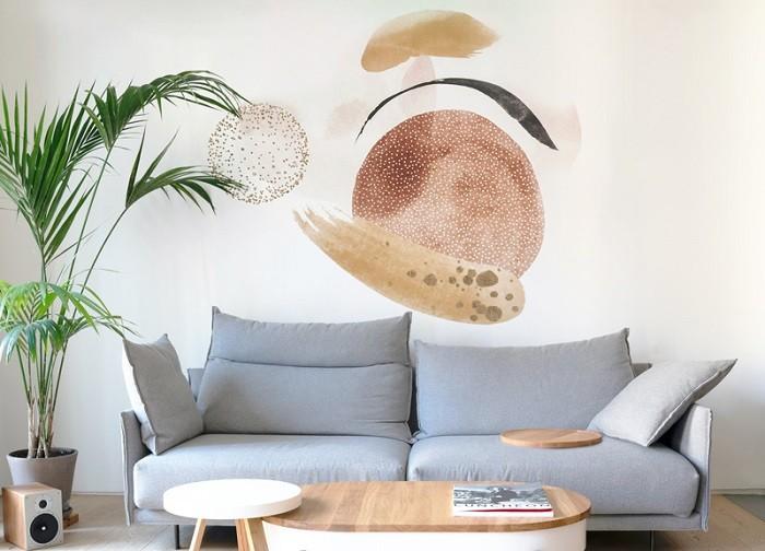 Pintura-mural-abstracta-en-un-salon