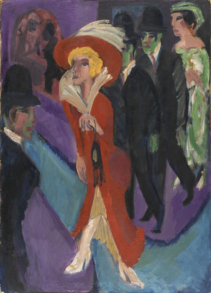 Obra pictórica Calle con buscona de rojo de Kirchner